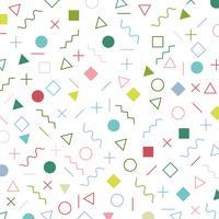 Teste padrão geométrico colorido do estilo de memphis dos elementos os anos 80 da era - anos 90 de fundo. vetor