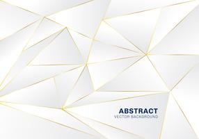 Luxo poligonal abstrata do teste padrão no fundo branco e cinzento do encabeçamento com linhas douradas.