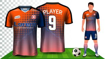 Camisa de futebol, camisa de esporte ou modelo de maquete de apresentação de uniforme de futebol Kit.