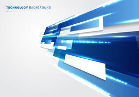 Os retângulos azuis e brancos de 3d abstrato movem-se com perspectiva digital futurista do conceito da tecnologia do efeito da iluminação no fundo branco com espaço da cópia.