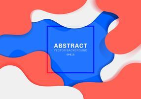 O conceito 3D dinâmico abstrato dá forma ao fundo vibrante da cor do conceito moderno. elementos azuis, brancos e vermelhos com líquido. Você pode usar para brochura, cartaz, web, página de destino, capa, anúncio, saudação, cartão, promoção, banner web. e vetor