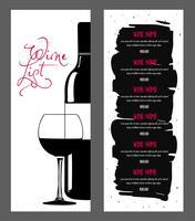 Design da lista de vinhos. vetor