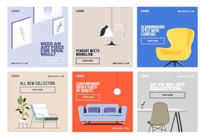 Mídia social interior decoração postar modelo de coleção vetor