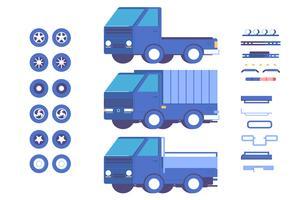 Veículo caminhão peças personalização mod ilustração conjunto vetor