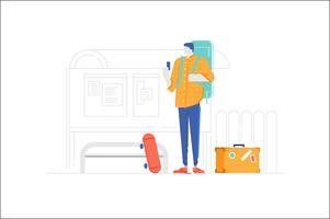 Pessoas, personagem, parada ônibus, ilustração vetor