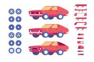 Carro veículo peças personalização mod ilustração conjunto vetor