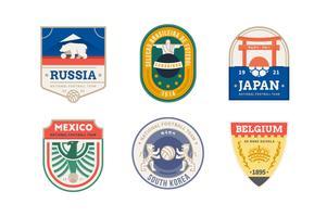Conjunto de logotipo de país de time de futebol vetor