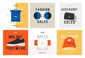 Moda compras mídia social postar modelo de coleção vetor