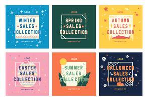 Vendas de temporada de moda compras mídia social postam modelo de coleção vetor