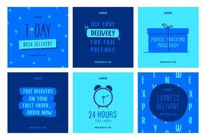 Modelo de coleção de post de mídia social de entrega de compras on-line vetor