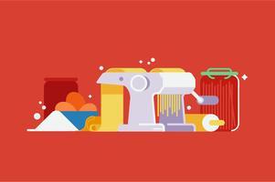 Conjunto de ilustração de máquina de máquina de massas vetor