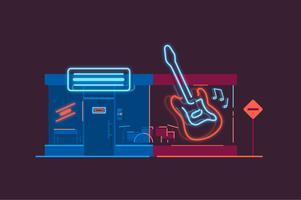 Ilustração de loja de loja de música minimalista vetor
