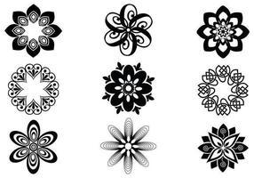 Pacote abstrato de elementos vetoriais florais