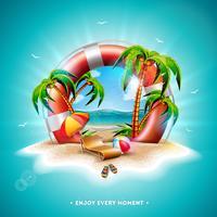 Vector a ilustração das férias de verão com cinto de salvação e palmeiras exóticas no fundo tropical da ilha. Flor, bola de praia, guarda-sol e paisagem do oceano azul