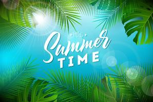 Ilustração do tempo de verão com letra da tipografia e plantas tropicais no fundo do azul de oceano. Vector Design de férias com folhas de palmeira exóticas e Phylodendron