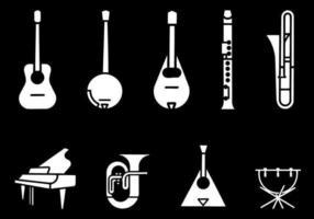 Pacote de vetores de instrumentos musicais preto e branco