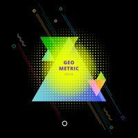 Composição geométrica colorida abstrata dos triângulos com reticulação do elemento no fundo preto.