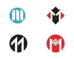 M carta modelo de logotipo vetor
