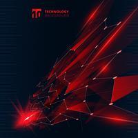 Os triângulos abstratos da cor vermelha da tecnologia com efeito da luz alinham a perspectiva da estrutura dos pontos de conexão no fundo escuro.