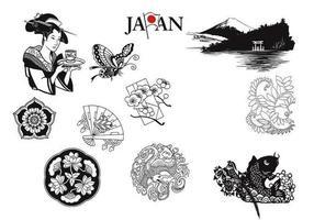 Vetores japoneses e elementos da natureza