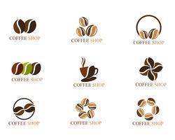 Xícara de café logotipo modelo vetor