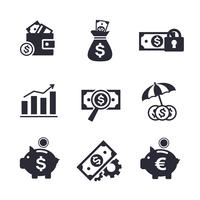 Conjunto de ícones de finanças e bancos vetor