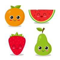 Conjunto de frutas frescas vetor