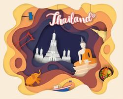 Design de corte de papel de viagens turísticas na Tailândia vetor