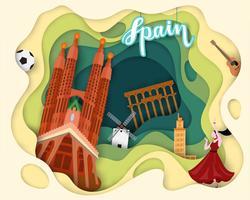 Design de corte de papel da Espanha de viagens turísticas vetor