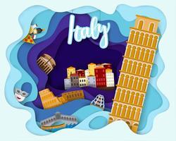 Design de corte de papel de viagens turísticas na Itália