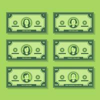 Cartoon Banknote Dollar Cash Flat Icon Set Ilustração
