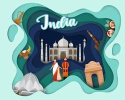 Design de corte de papel da Índia de viagens turísticas vetor