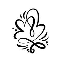 Vetor de caligrafia romântica dois Coração sinal de amor. Ícone de desenho de mão do dia dos namorados. Símbolo de Concepn para t-shirt, cartão postal, casamento de pôster. Ilustração de elemento plano de design