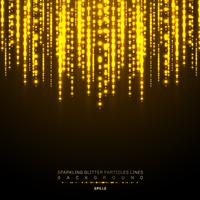 A linha vertical brilhante das luzes do ouro brilha o festival do feriado no fundo escuro. Teste padrão de brilho das luzes do confetti dourado do Natal. Chuva mágica de linhas de partículas de brilho cintilante
