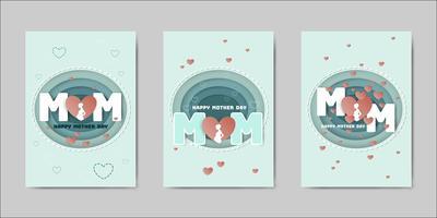 Feliz dia das mães letras cartões vetor