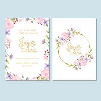 Modelo de convite de casamento com flores vetor