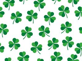 Padrão sem emenda de trevo deixa no fundo branco - dia de St Patrick vetor