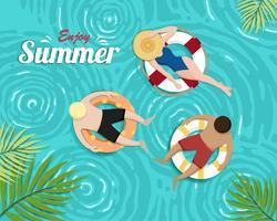 Belo banner de verão e cartão de cartaz vetor