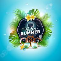 Ilustração do feriado de verão do vetor olá! Com letra da tipografia e as folhas tropicais no fundo do azul de oceano. Plantas exóticas, flor, óculos de sol e volante de navio