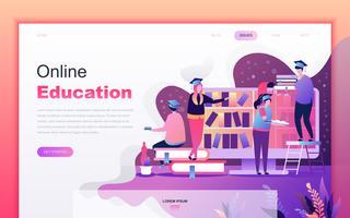 Conceito de design moderno plana dos desenhos animados de educação on-line para o site e desenvolvimento de aplicativos móveis. Modelo de página de destino. Personagem de pessoas decoradas para página da web ou homepage. Ilustração vetorial vetor
