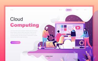Conceito de design moderno plana dos desenhos animados de Cloud Computing para o site e desenvolvimento de aplicativos móveis. Modelo de página de destino. Personagem de pessoas decoradas para página da web ou homepage. Ilustração vetorial vetor