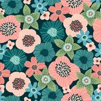 Padrão sem emenda floral. Desenho vetorial para papel, capa, tecido, decoração de interiores vetor
