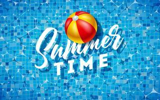 Ilustração das horas de verão com a bola de praia na água no fundo telhado da associação. Modelo de Design de férias de verão vetor