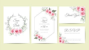 Modelo de cartões de convite de casamento Floral aquarela elegante. Mão desenho flor e ramos salvar a data, saudação, obrigado e cartões de RSVP multiuso vetor