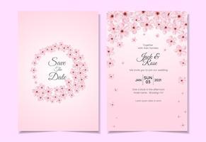 Conjunto de modelo de convite de casamento aquarela flor de cerejeira. Modelo de cartão bonito multiuso vetor