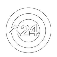 aberto 24 horas Icon vetor