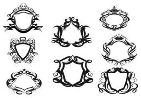 Pacote vectorial de escudos decorativos dois vetor