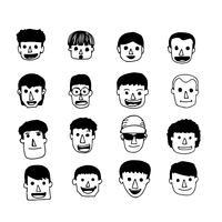 As pessoas enfrentam ícone dos desenhos animados vetor