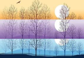 Pacote de vetores de papel de parede de árvores de silhueta