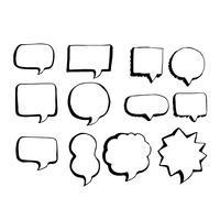 Ícone de desenho de mão de bolha de discurso vetor